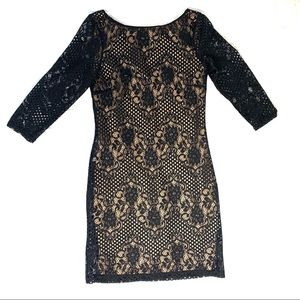 Topshop Size 4 3/4 Sleeve Black Lace Dress - Lined